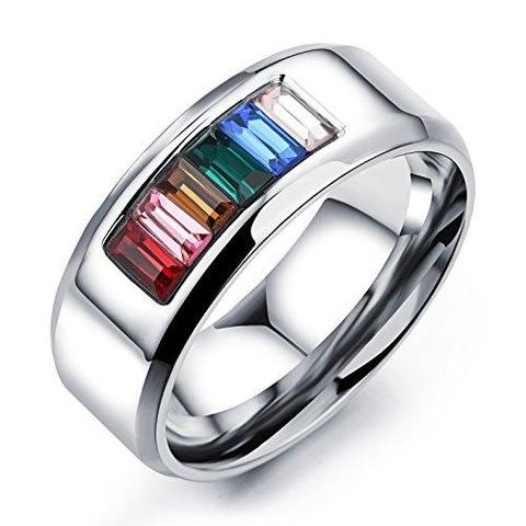 Stainless Steel Cubic Zirconia Rainbow Freedom Pride Wedding Ring
