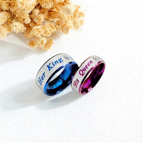 His and Her Silver Plated Stainless Steel with Blue and Purple Crown Couple Ring