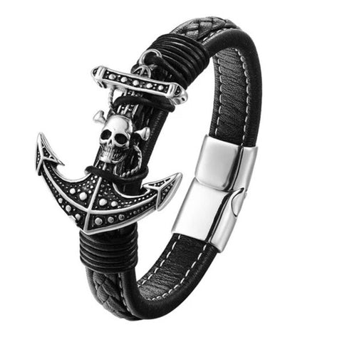 Pirate Skull Anchor Leather Bracelet