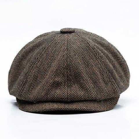 Eight Paneled Herringbone Wool Tweed Cap