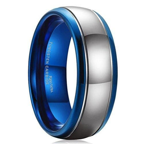 Domed Blue Silver Tungsten Carbide Wedding Band