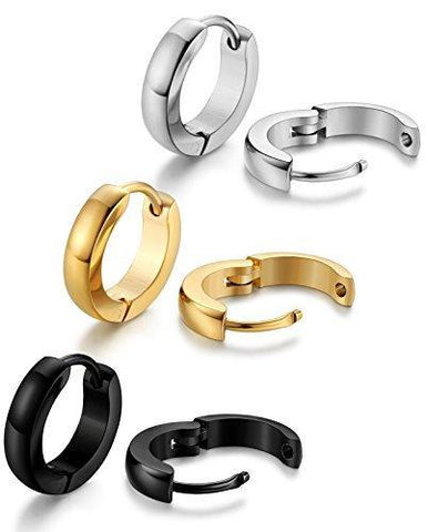 3 Sets Plated Stainless Steel Dome Huggie Earring