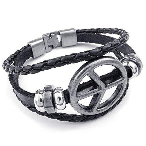 Unisex Peace Symbol Braided Cuff Bangle, Black Silver Leather Bracelet