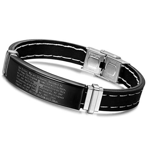 Silver-Tone Stainless Steel Rubber Black Cross English Lord's Prayer Bracelet
