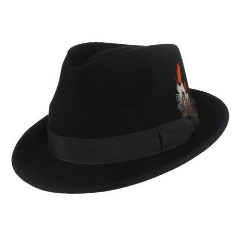 Chieftain Feather Grosgrain Hatband Wool Trilby Hat
