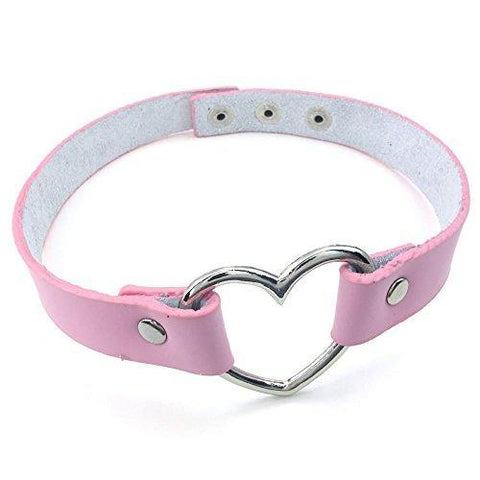 Pink Open Heart Leather Choker Necklace