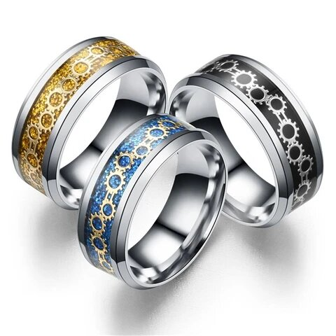 Black/Blue/Gold-Tone Stainless Steel Gear Carbon Fiber Wedding Band