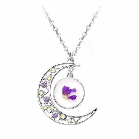 Crescent Moon Purple & Yellow Crystal Orchid Necklace
