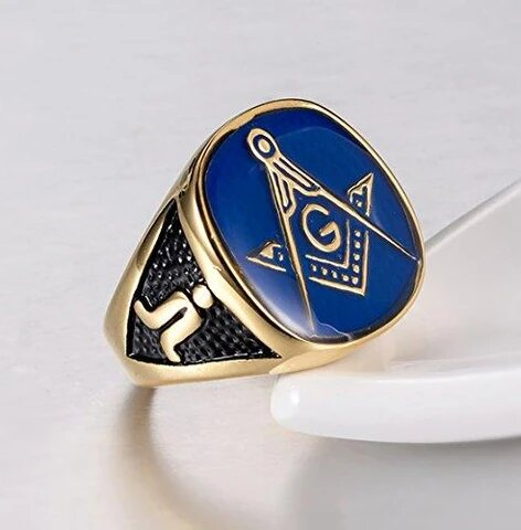 Men's Stainless Steel Gold Plated Freemason Ring