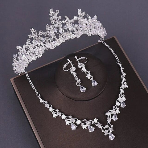Ice Queen Floral Crystal Drop Stainless Wedding Jewelry Set