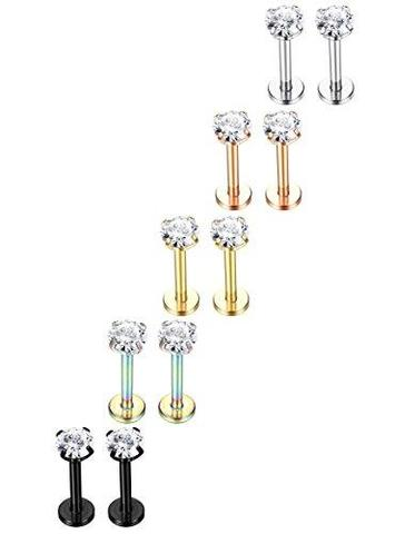 10 Piece Set 316L Stainless Steel Labret Monroe Nose Rings Studs