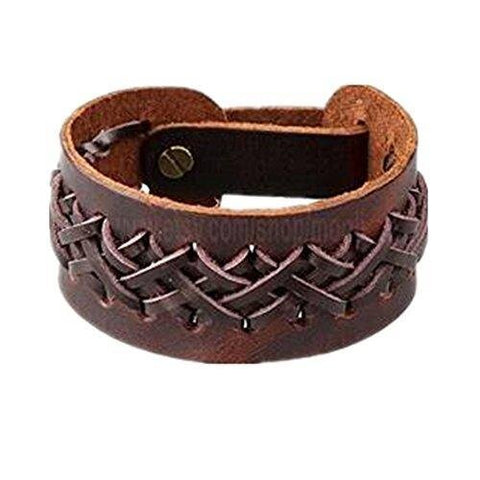 Unisex Interlaced Brown Leather Wrap Bracelet