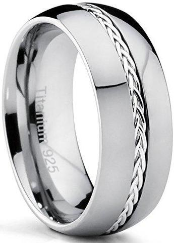 Dome Braided Silver Inlay Titanium Wedding Ring