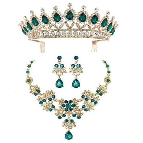 Green Zirconia Gold Stainless French Crown Set