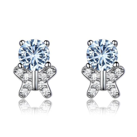 Blue & White Crystal Bear Sterling Silver Stud Earrings