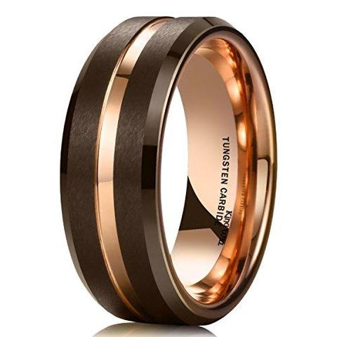 Brown Brushed Tungsten Carbide Thin Rose Gold Groove LGBTQ Wedding Ring