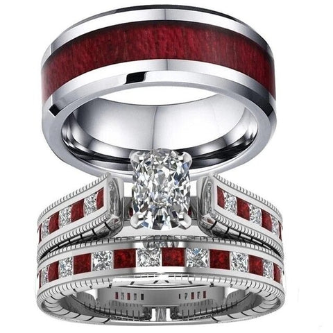 Red & White Baroness Wood Stainless Ring Set