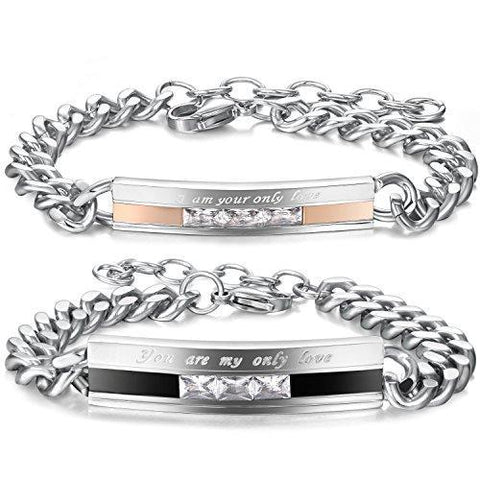 His & Her Crystal Love Engraved Stainless Link Bracelet