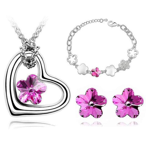 3PC Flower Crystal Jewelry Gift Set