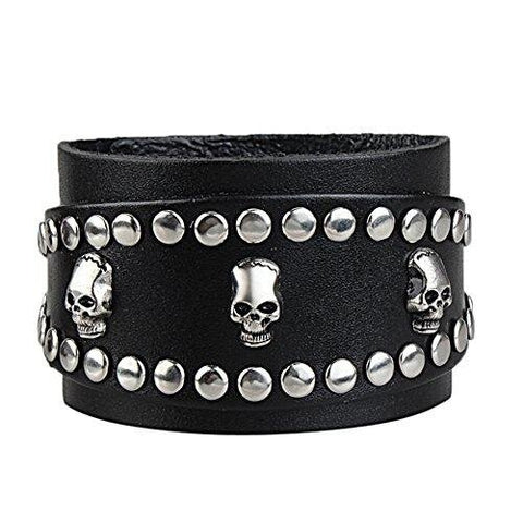 Goth Adjustable Skull Rivets Cuff Leather Bracelet