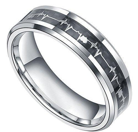 Black and Silver Heartbeat Inlay Titanium Ring