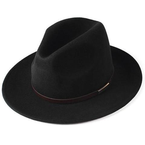 Brown Belt Hatband Wide Brim Wool Fedora Hat (6 Available Colors)
