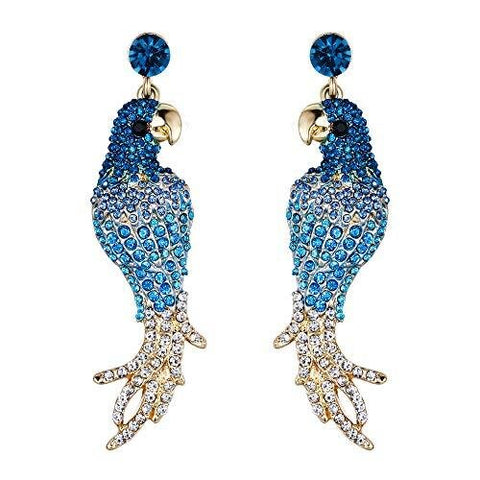 Blue & White Crystal Pave Parrot Stud Earrings