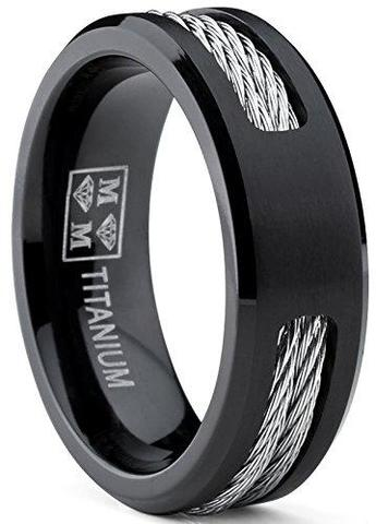 Stainless Steel Cables Ropes Black Titanium ring Wedding band