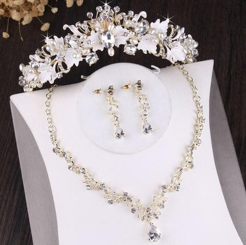 White Acrylic Flower Pearl Beads Tiara Stainless Jewelry Collection