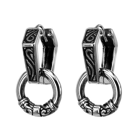 Stainless Steel Punk Double Hoop Earrings For Men