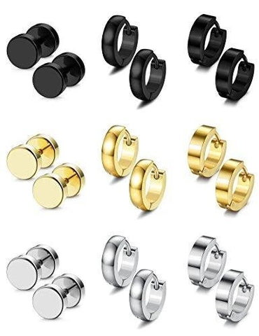 9 Pairs Plated Stainless Steel Fashion Earring Collection
