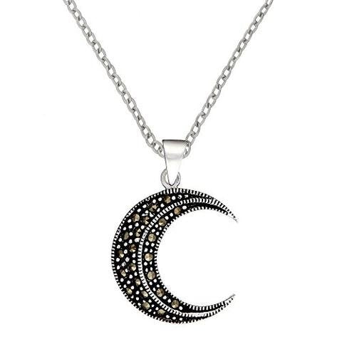 Sterling Silver Simulated Marcasite Crescent Half Moon Pendant Necklace, 46 cm