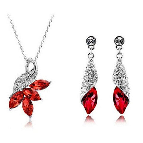 2PC Floral Bud Colored Crystal Jewelry Gift Set