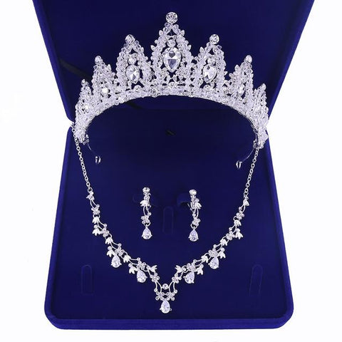 Cathedral Pavilion Cluster CZ Crown Stainless Jewelry Set