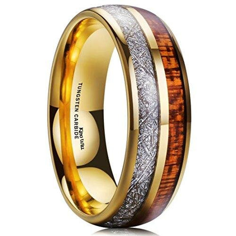 Men Meteorite Gold Plated Domed Tungsten Wedding Band
