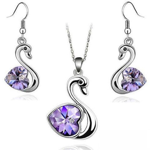 Purple Heart Crystal Stainless Steel Swan Earring Necklace Set