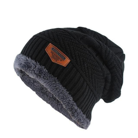 Thick Fur Lined Wool Cotton Knitted Winter Cap (6 Available Color)