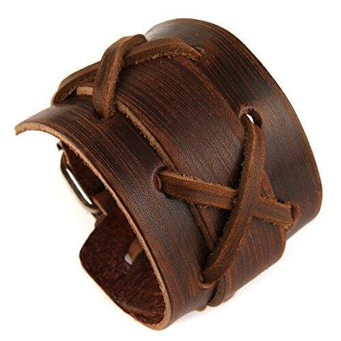 Native Wide Leather Brown Bangle Bracelet for Men