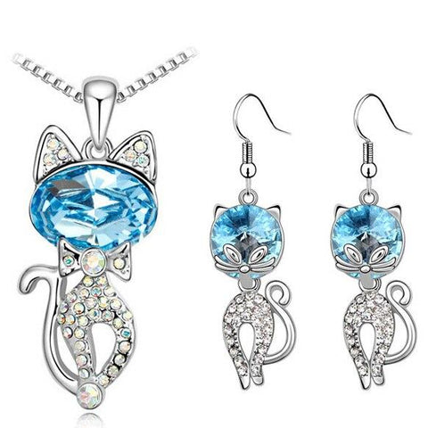 Blue & White Crystal Cat Stainless Steel Hook Earrings Necklace Set