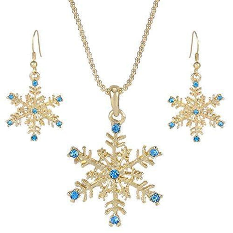 2PC Snow Flake Colored Crystal Jewelry Collection