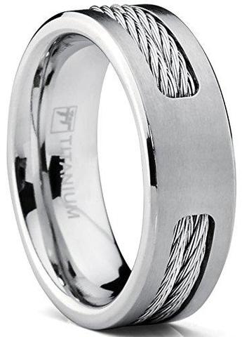 Anodized Titanium Stainless Steel Cable Inlay Wedding Ring