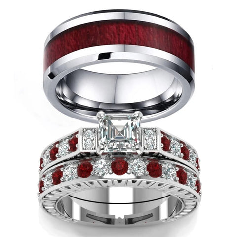 Red & White Princess Cut Wood Stainless Ring Set