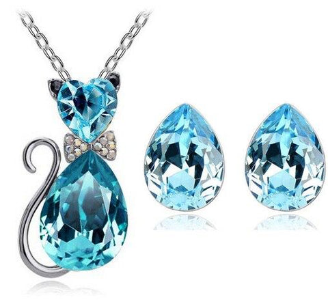 Colored Crystal Cat Teardrop Stud Earring Necklace Set
