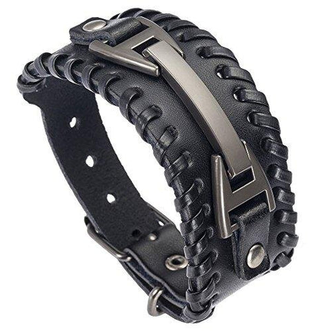 Adjustable Punk Belt Leather Wristband Bracelet