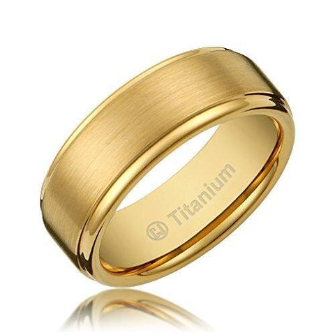 Men's Titanium Matte Glossy Gold-Plated Ring Wedding Band