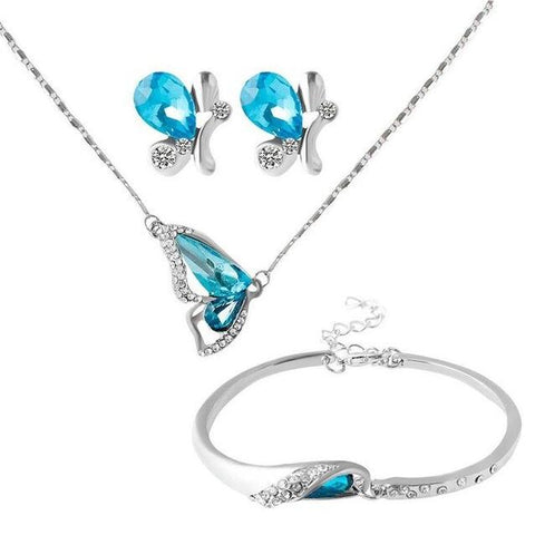 3PC Butterfly Colored Crystal Stainless Jewelry Set