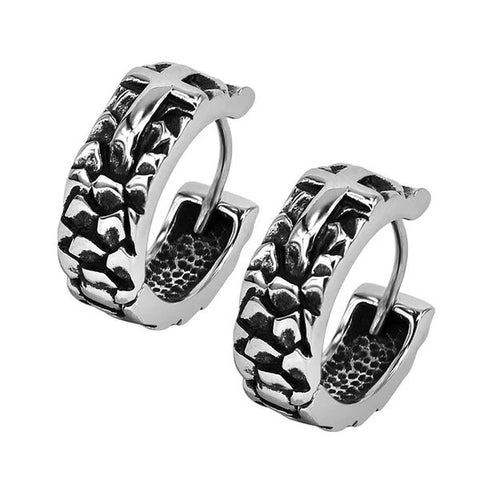Men's Stainless Steel Black Cross Hoop Earrings