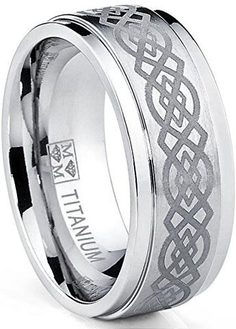 Sable Laser Etched Celtic Knot Titanium Wedding Band