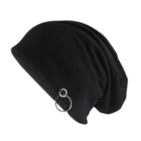 Silver Hoop Polyester Blend Slouch Cap (5 Available Color)