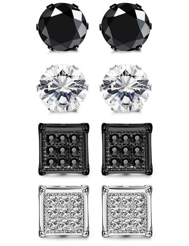 8PC Silver & Black Stainless Steel Round & Square Stud Earrings Set